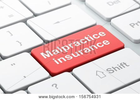Insurance concept: computer keyboard with word Malpractice Insurance, selected focus on enter button background, 3D rendering