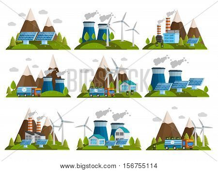 Set of nine isolated ecology decorative icons with orthogonal images of outdoor scenery with power plants vector illustration