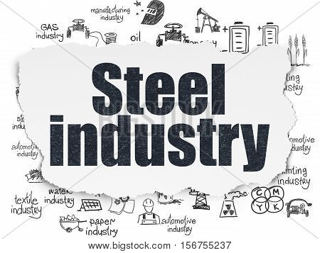 Industry concept: Painted black text Steel Industry on Torn Paper background with  Hand Drawn Industry Icons