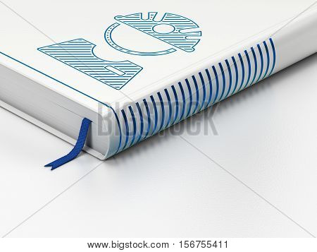 Industry concept: closed book with Blue Factory Worker icon on floor, white background, 3D rendering