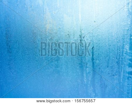 Turquoise Frost Background, Closeup Frozen Winter Window Pane Coated Shiny Icy Frost Patterns, Extreme North Low Temperature