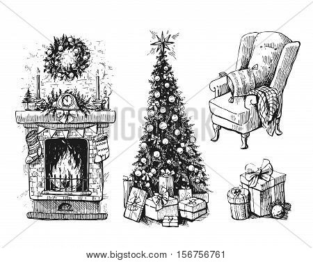 Sketch vector illustration set with christmas tree and fireplace. Us for postcard, card, invitations and christmas decorations.