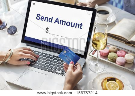 Send Amount Online Banking Concept