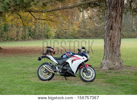 STRASBOURG FRANCE - NOV 1 2016: Beautiful sport motorcycle HONDA CBR1000RR Fireblade parked in green park environment under pine tree
