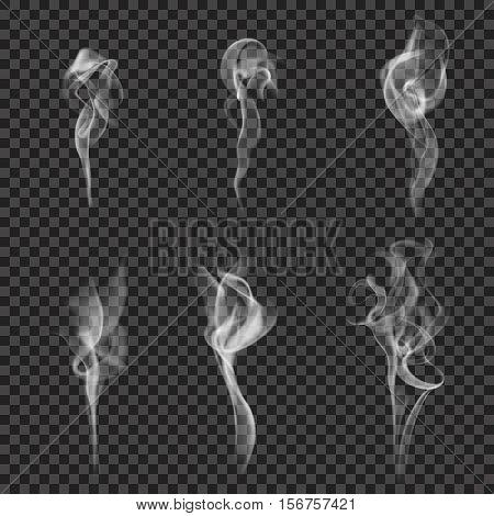 Set of realistic images with six cigarette smoke shape white haze on dark transparent background vector illustration poster