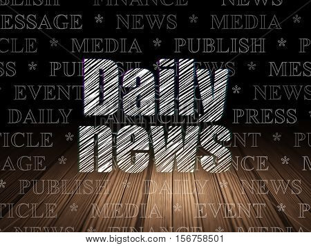 News concept: Glowing text Daily News in grunge dark room with Wooden Floor, black background with  Tag Cloud