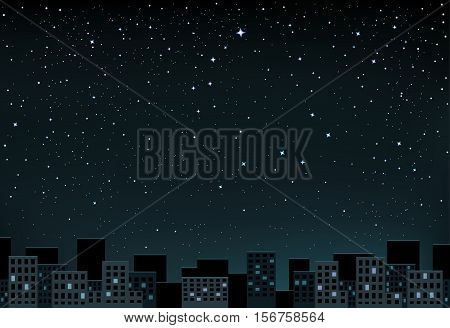 The night city and space with stars that show a little and the Big Dipper