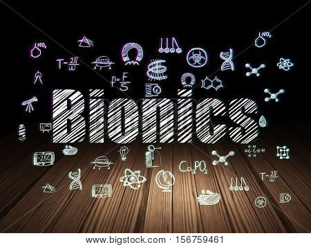 Science concept: Glowing text Bionics,  Hand Drawn Science Icons in grunge dark room with Wooden Floor, black background