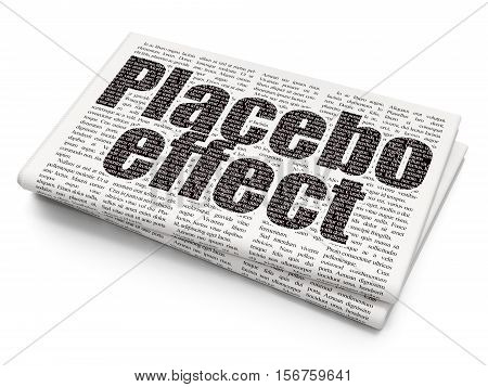 Healthcare concept: Pixelated black text Placebo Effect on Newspaper background, 3D rendering