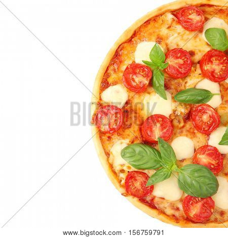 Pizza Margarita isolated on white, top view