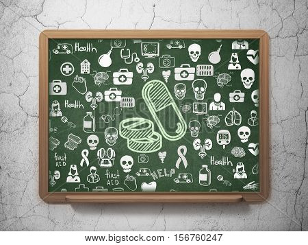 Medicine concept: Chalk Green Pills icon on School board background with  Hand Drawn Medicine Icons, 3D Rendering