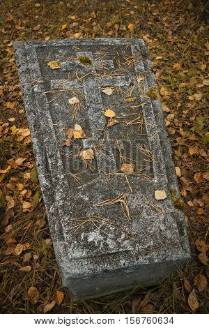 Gravestone On Ancient Russian Graveyard