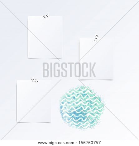 Vector white Note paper on the wall this watercolor waves. Hipster mood board template. Mock up.