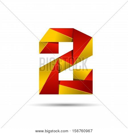 Number two 2 icon design template elements 3d logo. Red and gold glossy style. Vector design template elements for application or company.