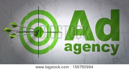 Success advertising concept: arrows hitting the center of target, Green Ad Agency on wall background, 3D rendering