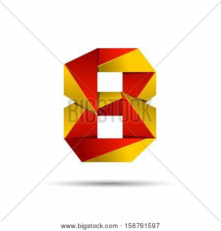 Number eight 8 icon design template elements 3d logo. Red and gold glossy style. Vector design template elements for application or company.