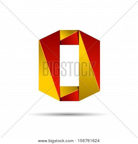 Number zero 0 icon design template elements 3d logo. Red and gold glossy style. Vector design template elements for application or company.
