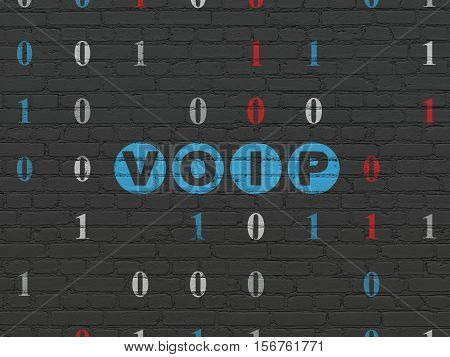 Web design concept: Painted blue text VOIP on Black Brick wall background with Binary Code