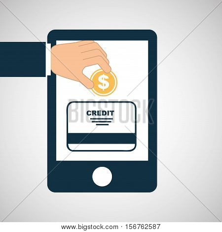 hand save money credit card icon vector illustration eps 10