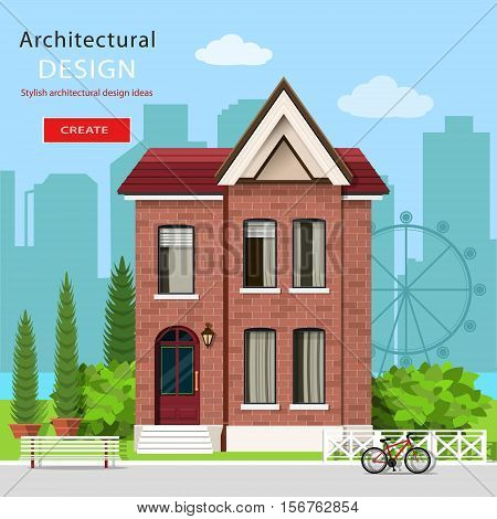 Graphic contemporary luxury house with green yard and city background. European modern architecture. Flat style vector illustration.