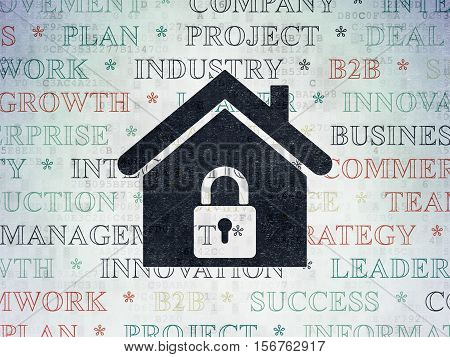 Business concept: Painted black Home icon on Digital Data Paper background with  Tag Cloud
