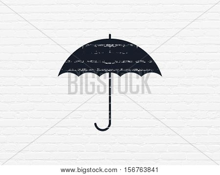 Safety concept: Painted black Umbrella icon on White Brick wall background