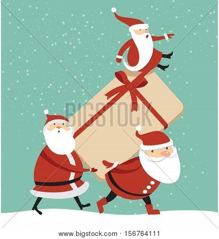 Three Santas with huge gift box cartoon illustration