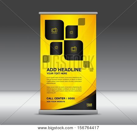 Yellow Roll Up Banner, banner design, roll up stand, advertisement, display Ads,  x-banner and flag-banner