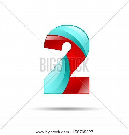 Number two 2 colorful 3d volume icon. Vector design for banner, presentation, web page, card, labels or posters.