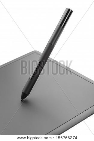 Closeup of modern graphic tablet isolated on white background with clipping path