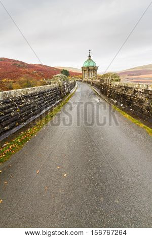 Road over the Craig Goch Dam part of the Elan Valley Reservoirs. Powys Wales United Kingdom.