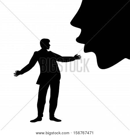 symbolic illustration of the great female lips kissing a man