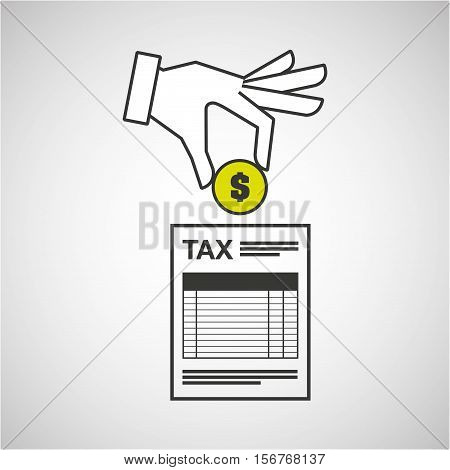 hand putting coin taxes pay vector illustration eps 10