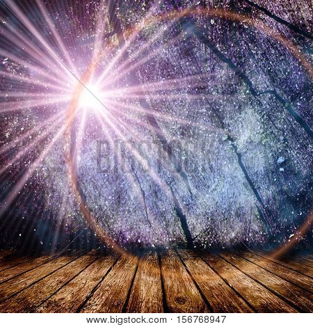 Empty room with light star and light rays. Christmas background