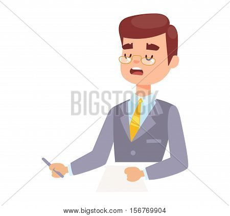 Vector Illustration anchorman breaking news and tv screen layout. Professional interview newsreader breaking news anchor. Communication broadcast newscaster breaking news anchor journalist.