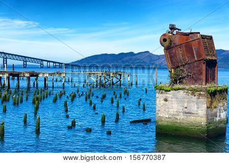 View of the Columbia River from the Astoria Oregon waterfront