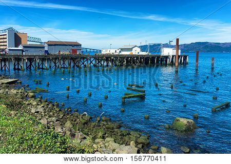 Canneries on the waterfront of Astoria Oregon