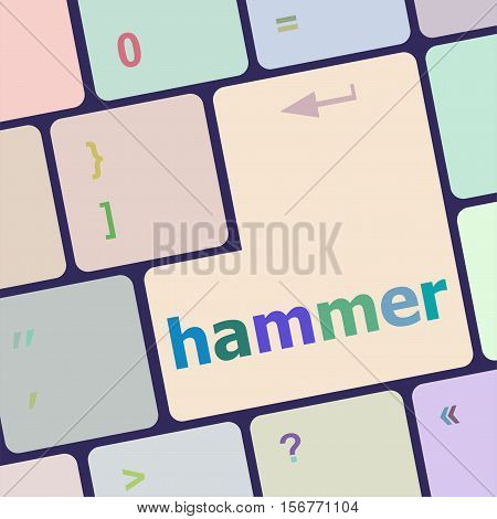 Hammer Word On Computer Pc Keyboard Key