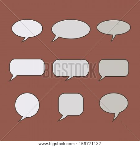 Thought speech bubble. Dream cloud. Talk balloon. Quote box. Text information frame. Banner and badge. Set of vector illustration icons.