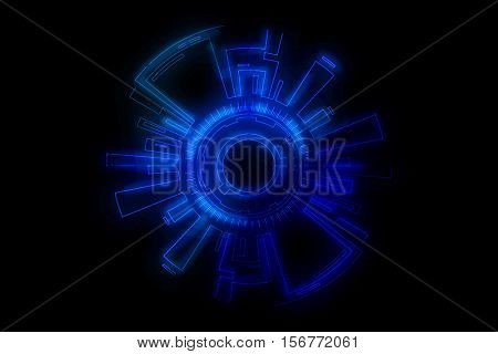 Technology theme with glowing blue science fiction digital interface and dark edges