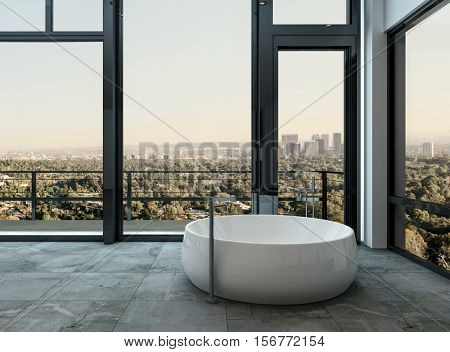 Unusual modern freestanding round ceramic bathtub surrounded by wraparound view windows overlooking a city in a modern bathroom interior, 3d rendering