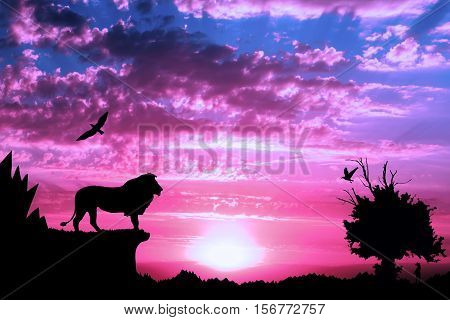 Jungle With Mountains, Old Tree, Birds Lion And Meerkat On Purple Cloudy Sunset Background