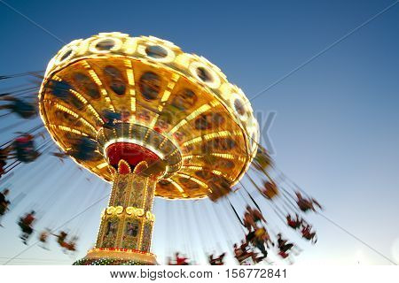 Amusement park ride at end of day