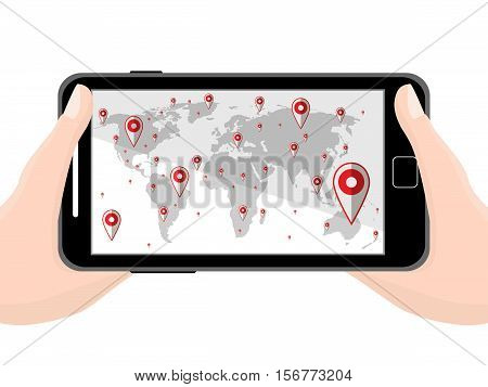 Flat Black Modern Mobile Phone In Hands With Navigator Program Isolated. Vector Illustration