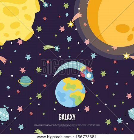 Galaxy cartoon web template. Spaceship flying in outer space among stars, comets, Earth, Moon, Sun vector illustration. Interstellar flight concept for company, astronomical club, childrens cafe page