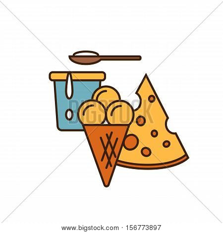 Dairy icon in line style design with cheese, ice cream and yoghurt in container, isolated vector illustration. Traditional and tasty products. Organic farming. Natural and healthy food symbol