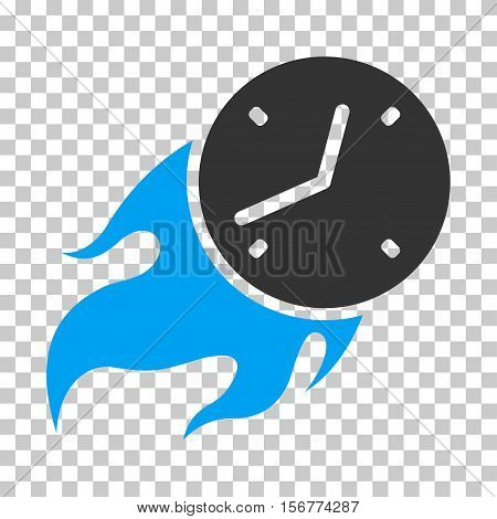 Deadline Fire EPS vector pictogram. Illustration style is flat iconic bicolor blue and gray symbol on chess transparent background.