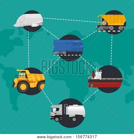Global logistics network concept. Worldwide delivery of goods logistics and transportation. Air cargo trucking, rail transportation, maritime shipping vector illustration. Support international trade