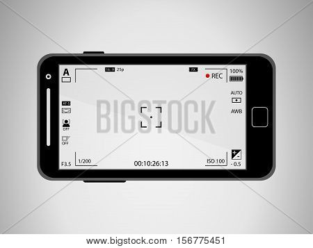 Flat Black Modern Mobile Phone With Focusing Screen With Settings. Camera Recording. Vector Illustra