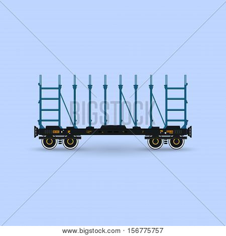 Railway Platform Isolated on Blue Background, Railway Transport, Platform for Transportation of Bulk Cargo and Long Cargo and for Timber Transportation , Vector Illustration